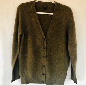 J, Crew green Donegal wool cardigan